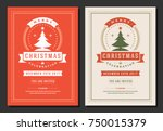 christmas party invitation... | Shutterstock .eps vector #750015379