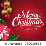 christmas decorative greeting... | Shutterstock .eps vector #750015895