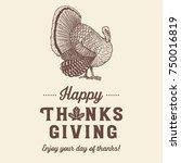 hand drawn thanksgiving turkey...   Shutterstock .eps vector #750016819