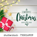 christmas decorative greeting... | Shutterstock .eps vector #750016909