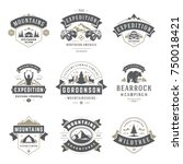Camping logos templates vector design elements and silhouettes set, Outdoor adventure mountains and forest expeditions, vintage style emblems and badges retro illustration.  | Shutterstock vector #750018421