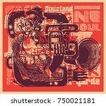 design poster or t shirt print... | Shutterstock .eps vector #750021181