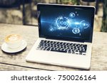 laptop with abstract ico...   Shutterstock . vector #750026164