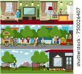 vector set of posters or... | Shutterstock .eps vector #750026407