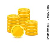 stack yellow coins in a flat... | Shutterstock .eps vector #750027589