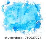 blue watercolor brush stains... | Shutterstock . vector #750027727