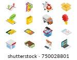 online shopping   isometric... | Shutterstock . vector #750028801