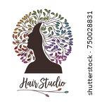 hair studio logo or sign  woman ... | Shutterstock .eps vector #750028831