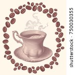 cup of hot coffee and coffee...   Shutterstock .eps vector #750030355