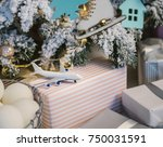toy airplane among christmas... | Shutterstock . vector #750031591