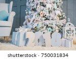 happy new year 2018. christmas... | Shutterstock . vector #750031834