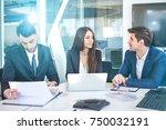 business people having meeting... | Shutterstock . vector #750032191