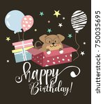 happy birthday party card | Shutterstock .eps vector #750035695