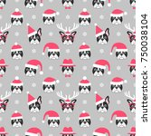 pattern french bulldogs with... | Shutterstock .eps vector #750038104