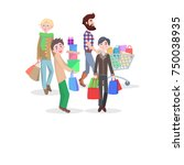 men shopping conceptual banner. ... | Shutterstock . vector #750038935