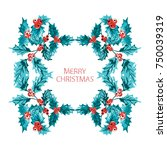 elegant christmas wreath with... | Shutterstock . vector #750039319