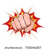 power fist on blasting... | Shutterstock .eps vector #750046087