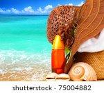 Beach Items Over Blue Sea...