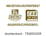 decorative italic sans serif... | Shutterstock .eps vector #750052339
