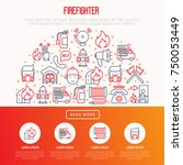 firefighter concept in half... | Shutterstock .eps vector #750053449