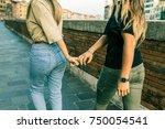 girls best friends holding... | Shutterstock . vector #750054541