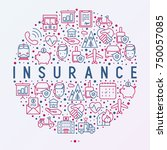 insurance concept in circle... | Shutterstock .eps vector #750057085