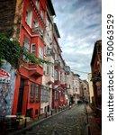 balat district streets view... | Shutterstock . vector #750063529