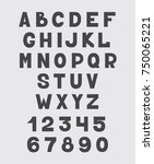 alphabet design set numbers and ... | Shutterstock . vector #750065221