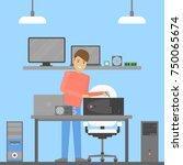 computer reapir service. man... | Shutterstock .eps vector #750065674