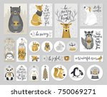 christmas cards and gift tags... | Shutterstock .eps vector #750069271