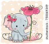 greeting card elephant with... | Shutterstock .eps vector #750069349