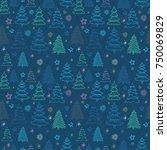 seamless christmas vector... | Shutterstock .eps vector #750069829