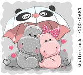 two cute cartoon hippos with... | Shutterstock .eps vector #750070681