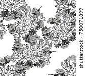 seamless monochrome pattern of... | Shutterstock .eps vector #750071899