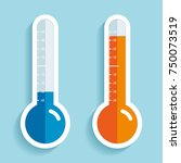 thermometers in flat style ... | Shutterstock .eps vector #750073519