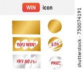 scratch card win. scratch card... | Shutterstock . vector #750074191
