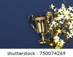 gold winners achievement trophy ... | Shutterstock . vector #750074269