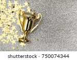 gold winners achievement trophy ... | Shutterstock . vector #750074344