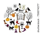 halloween. background with ... | Shutterstock . vector #750074377