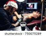 man in costume of santa claus... | Shutterstock . vector #750075289
