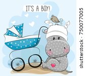 greeting card its a boy with... | Shutterstock .eps vector #750077005