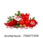 christmas decoration with... | Shutterstock . vector #750077359