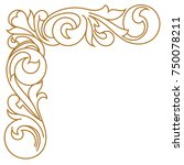 golden vintage baroque ornament ... | Shutterstock .eps vector #750078211