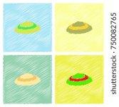 scallop sea shell  sketch style ... | Shutterstock .eps vector #750082765