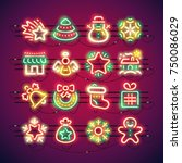 set of christmas colorful neon... | Shutterstock .eps vector #750086029