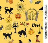 halloween seamless pattern with ... | Shutterstock . vector #750088861