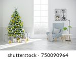 christmas tree decorate on... | Shutterstock . vector #750090964
