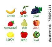 food  fruit set vector... | Shutterstock .eps vector #750092161