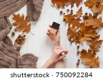 jar with a tonal cream in the...   Shutterstock . vector #750092284