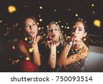 group of people having a party  ... | Shutterstock . vector #750093514